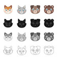 different kinds of animals muzzle fox wolf dog vector image