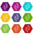 epithelial cell icon set color hexahedron vector image vector image