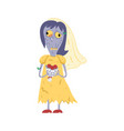 female zombie in wedding dress character vector image vector image