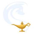 genie lamp with smoke magic antique wish aladdin vector image