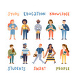 group cute multicultural students cartoon vector image vector image