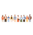 group friendly diverse people standing together vector image