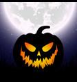 halloween pumpkin under the moonlight vector image