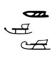 Hand drawn set of three sleds vector image vector image