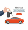 hand holding keys to new red car web banner vector image vector image