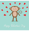 Happy Valentines Day Love card Cute monkey red vector image