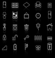 House related line icons with reflect on black vector image vector image