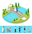 isometric city park composition with couple vector image vector image