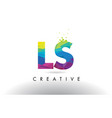 ls l s colorful letter origami triangles design vector image vector image