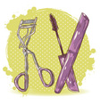 Make-up eyelash curler and mascara isolated card vector image vector image