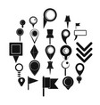 map pointer icons set simple style vector image