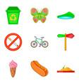 megapolis park icon set cartoon style vector image