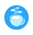 milk market logotype with hot cup fresh milk vector image vector image