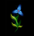 modern glowing blue cosmic flower colorful vector image vector image