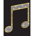 Music note gold icon with diamonds vector image vector image