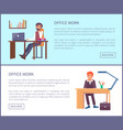 office work posters dreaming males sitting at work vector image vector image