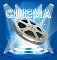 old film reel on illuminated pedestal - movie vector image vector image