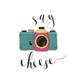 photo camera with lettering - say cheese hand vector image vector image