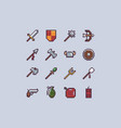 pixel weapons icon set vector image