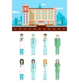 Polyclinic with doctors vector image vector image