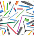 seamless background of set of different pens vector image vector image