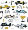 seamless pattern with hand drawn retro racing cars vector image
