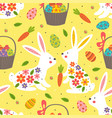 seamless pattern with white easter bunny vector image