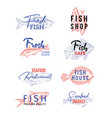 set isolated icons with fish sketches food vector image vector image