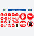 set of stop sign vector image