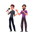 two men guys singing in duet karaoke party vector image vector image