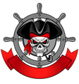 wheel of the ship and the skull vector image