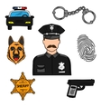 Policeman colored sketch for professions design vector image