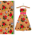 women dress fabric with tattoo elements vector image