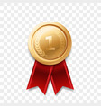 1 place winner golden medal award ribbon vector image
