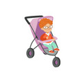 adorable little boy sitting in modern stroller vector image vector image