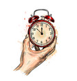 alarm clock analog classic vintage style from a vector image vector image