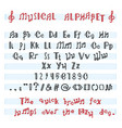 alphabet abc musical alphabetical font with vector image vector image