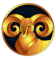 aries golden zodiac sign horoscope symbol vector image vector image