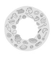 bakery products baking tools round doodle label vector image
