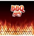 BBQ party text grill and burning fire flames vector image
