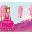 Beautiful little princess in front of her castle vector image vector image