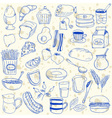 breakfast doodles vector image