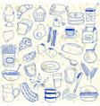 breakfast doodles vector image vector image
