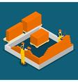 Building Construction Workers Isometric Banner vector image vector image