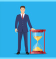 businessman with sand clock vector image vector image