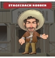 Cartoon character in Wild West - stagecoach robber vector image