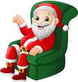 cartoon santa claus sitting on green sofa vector image