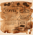 Coffee grinder and beans on a watercolor vector image vector image