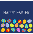 Colored Easter egg set Blue background Flat design vector image vector image
