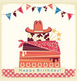 cowboy happy birthday party card with cake and vector image